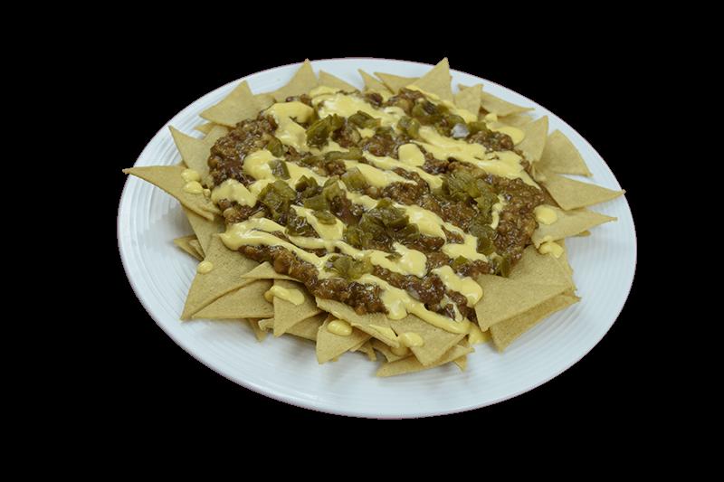 Nachos con Chili con Carne y jalapeños